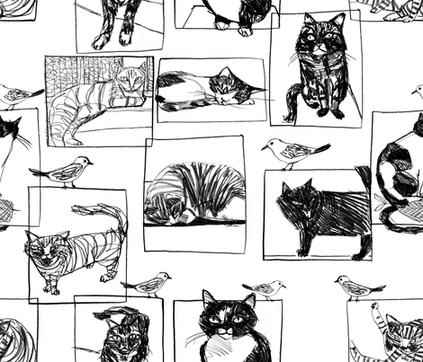 kitty sketchbook fabric by cinqchats on Spoonflower - custom fabric