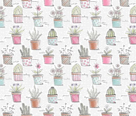 Lots of Pots fabric by littlerhodydesign on Spoonflower - custom fabric