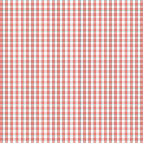 coral_teal_gingham_ish_block_for_repeating fabric by xoelle on Spoonflower - custom fabric