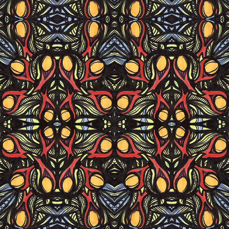 stained_glass_with_fruit fabric by kcs on Spoonflower - custom fabric