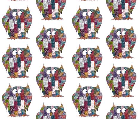 Log Cabin Owl fabric by aftermyart on Spoonflower - custom fabric