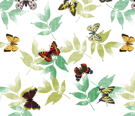 butterflys_fq_wgreen_leaves fabric by mysticalarts on Spoonflower - custom fabric
