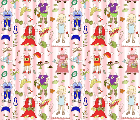 Miss Ruby Paper Dolls with stripe fabric by holly_helgeson on Spoonflower - custom fabric