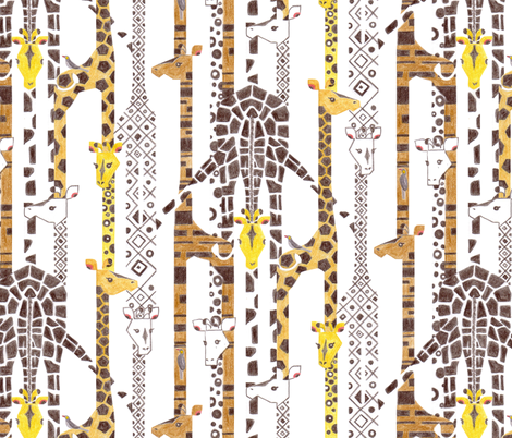 Giraffe Line-Up (Color Pencil) fabric by ttoz on Spoonflower - custom fabric