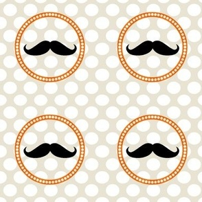 Orange-Grey Mustache Polka