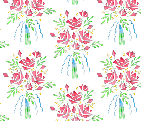 A Modish blushing bunch of roses fabric by victorialasher on Spoonflower - custom fabric