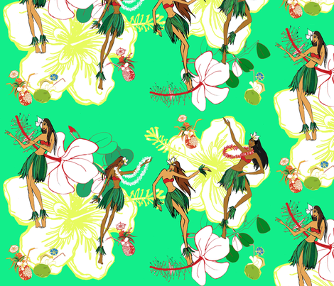 Hula dancers  fabric by gigimoll on Spoonflower - custom fabric