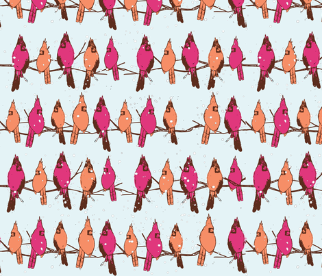 Cardinal Party Line fabric by femiford on Spoonflower - custom fabric