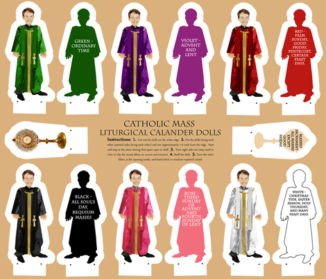 Liturgical Calendar priest colors dolls cut and sew fabric by magneticcatholic on Spoonflower - custom fabric
