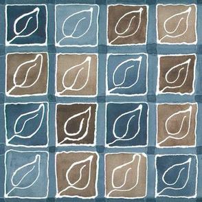 Leaf-in-Square fabric indigo-sepia