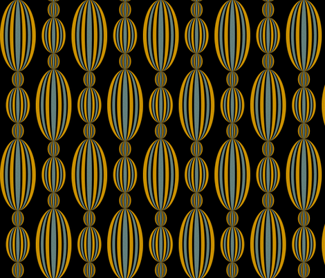 Baroque Beads in silver and gold on black fabric by glanoramay on Spoonflower - custom fabric