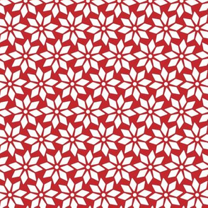 Christmas Stars white on red