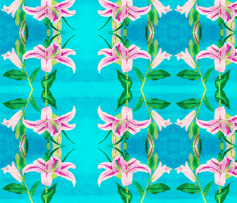 Asiatic Lily Bright Aqua - mirror fabric by painter13 on Spoonflower - custom fabric