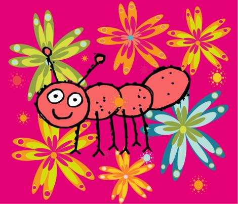 BUGS N' STUFF  WIGGLES fabric by deeniespoonflower on Spoonflower - custom fabric