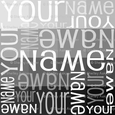 Personalised Name Fabric - Grey Sampler