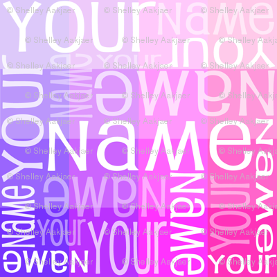 Personalised Name Fabric - Pink/Purple Sampler