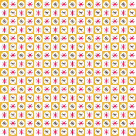 Atomic Caramel || midcentury modern atomic stars starburst check checkerboard geometric fabric by pennycandy on Spoonflower - custom fabric