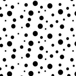Black on white Dalmatian spots.