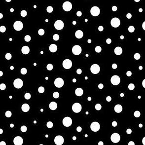 White on black Dalmatian spots.