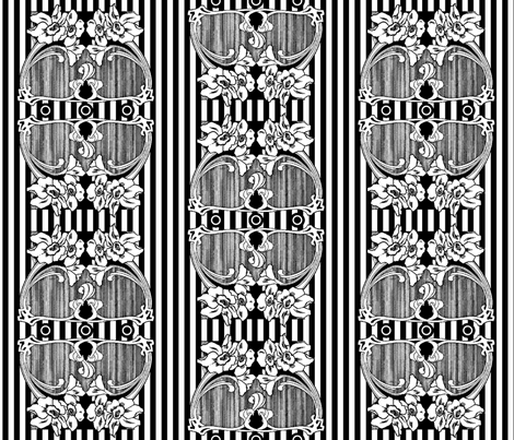 Black and White Nouveau fabric by whimzwhirled on Spoonflower - custom fabric