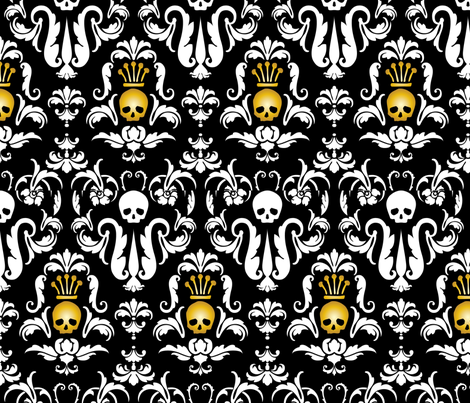 Skull Demask-Black fabric by happyhappymeowmeow on Spoonflower - custom fabric
