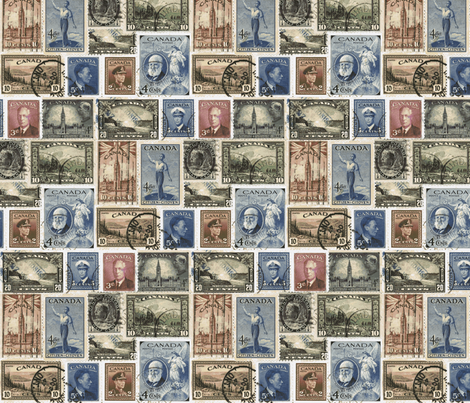 Postage Stamps, Canada-ch fabric by flyingfish on Spoonflower - custom fabric