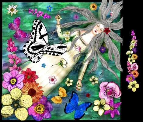 Foulard Ophelia fabric by dinorahdesign on Spoonflower - custom fabric