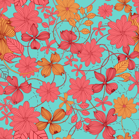 Yellow-pink flowers fabric by innaogando on Spoonflower - custom fabric