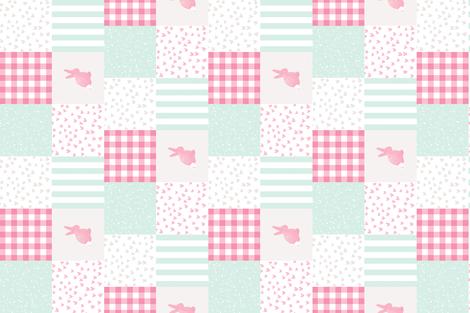 cestlaviv_Snow_Bunny_pinkmint_ Cheater fabric by cest_la_viv on Spoonflower - custom fabric