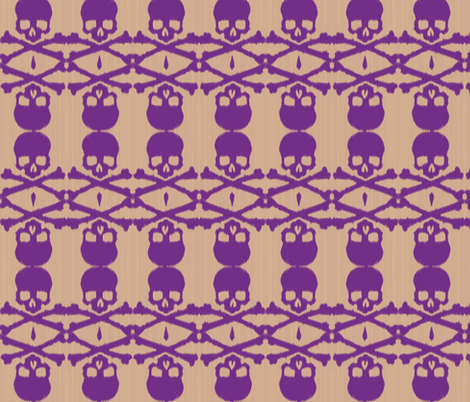 Ikat skull - purple/taupe fabric by fable_design on Spoonflower - custom fabric