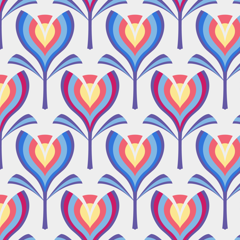 Spring tulips - blue & coral fabric by coggon_(roz_robinson) on Spoonflower - custom fabric
