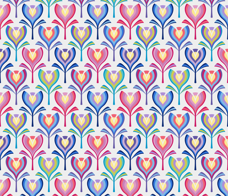 Spring tulips - multi with pink fabric by coggon_(roz_robinson) on Spoonflower - custom fabric