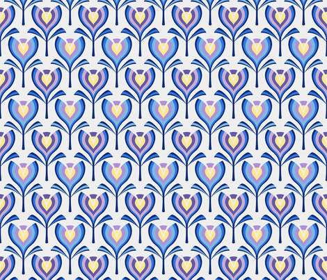 Spring tulips - blue fabric by coggon_(roz_robinson) on Spoonflower - custom fabric