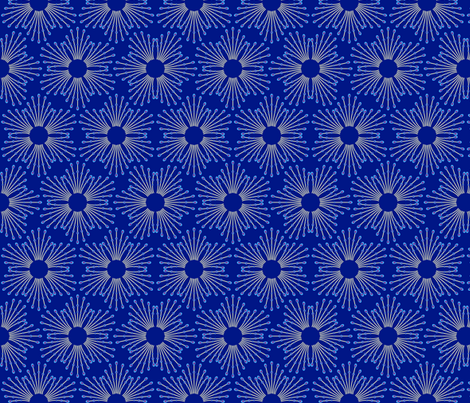 starburst beads - cream on blue fabric by coggon_(roz_robinson) on Spoonflower - custom fabric