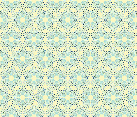 Starburst beads - blue on cream fabric by coggon_(roz_robinson) on Spoonflower - custom fabric