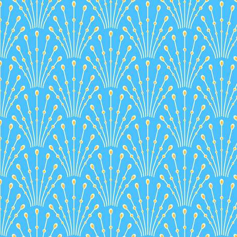 Art deco beads - cream on blue fabric by coggon_(roz_robinson) on Spoonflower - custom fabric