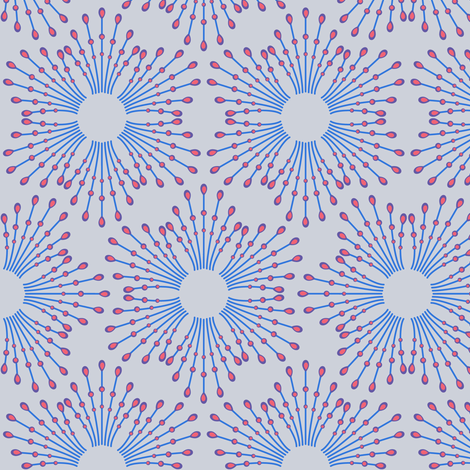 Starburst beads - blue & coral on steel fabric by coggon_(roz_robinson) on Spoonflower - custom fabric