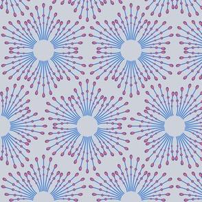 Starburst beads - blue & coral on steel