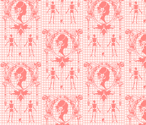Death Cameo Houndstooth-Pink fabric by happyhappymeowmeow on Spoonflower - custom fabric