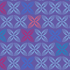 Kiss line flowers - blue & coral on purple