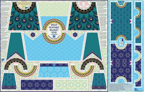 Deco Feather Bucket clutch - with bonus foldover reversible clutch purse on sateen fabric by coggon_(roz_robinson) on Spoonflower - custom fabric