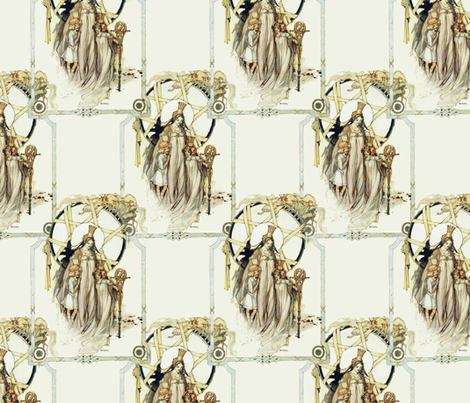 Glinda, Dorothy and Ozma ~ Three Royal Ladies of Oz fabric by peacoquettedesigns on Spoonflower - custom fabric