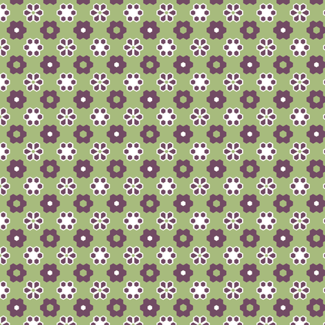 Hexagon flowers green hex_crop_3b_small_fix-ch fabric by khowardquilts on Spoonflower - custom fabric