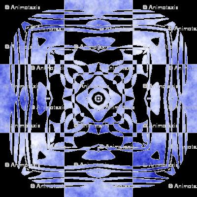 Geo Floral Blue Design, L