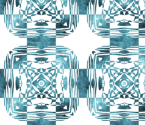 Geo Floral Teal Design, L fabric by animotaxis on Spoonflower - custom fabric