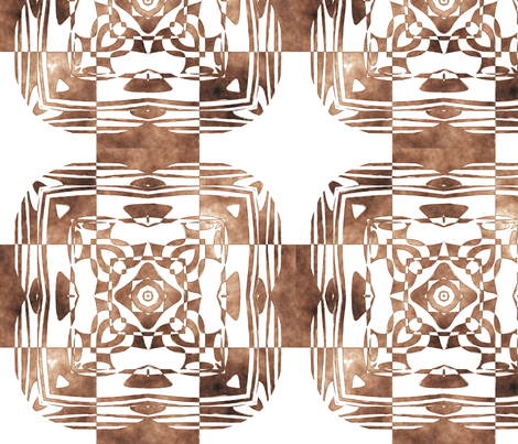Geo Floral Coffee Brown Design, L fabric by animotaxis on Spoonflower - custom fabric