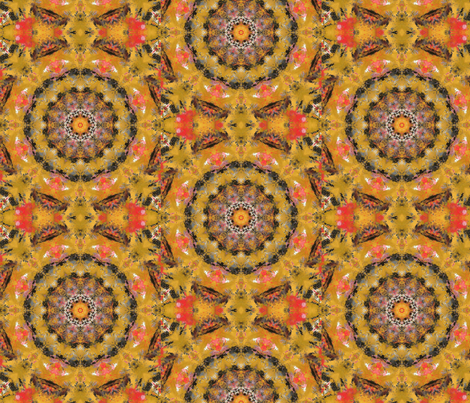 Acrylics on Gold Tissue Paper fabric by anniedeb on Spoonflower - custom fabric