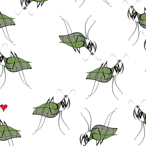 Mantis_in_love_scatered_05-12 fabric by mylovenart on Spoonflower - custom fabric