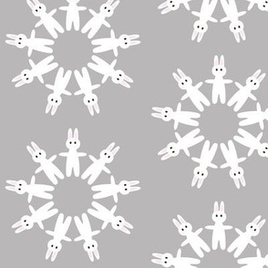 bunny circles on grey background