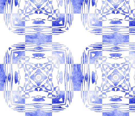 Geo Floral Blue Design, M fabric by animotaxis on Spoonflower - custom fabric